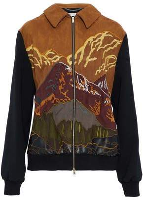 Stella McCartney Paneled Embroidered Faux-Suede And Wool-Blend Cady Jacket