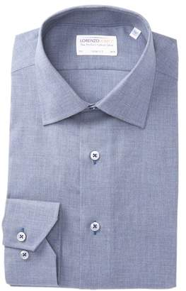 Lorenzo Uomo Solid Heather Trim Fit Dress Shirt