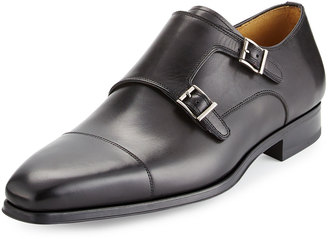 Magnanni for Neiman Marcus Vekio Leather Monk-Strap Oxford, Black $233.10 thestylecure.com