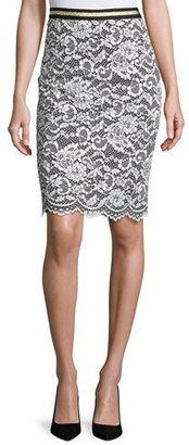 Trina Turk Paltrow Lace Pencil Skirt, Whitewash/Black $248 thestylecure.com