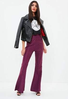 Missguided Purple Polka Dot Kick Flare Pants