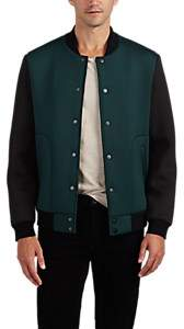 Barneys New York MEN'S COLORBLOCKED NEOPRENE BOMBER JACKET SIZE XL