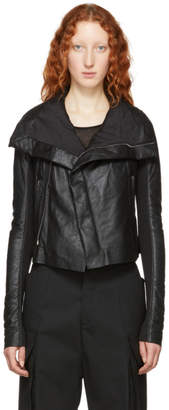 Rick Owens Black Blister Leather Biker Jacket
