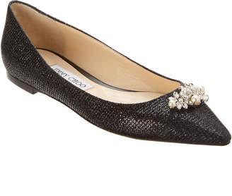 Jimmy Choo Alexa Embellished Glitter Fabric Ballerina Flat