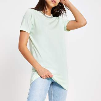 River Island Womens Light Green embellished longline T-shirt
