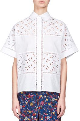 Kenzo Cotton Short Sleeve Button-Front Shirt