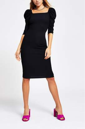 River Island Womens Black Poppy Puff Sleeve Dress - Black