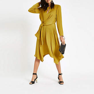 River Island Womens Yellow tie waist long sleeve midi dress