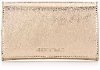 Jimmy Choo MARLIE Gold Etched Metallic Spazzolato Leather Continental Wallet