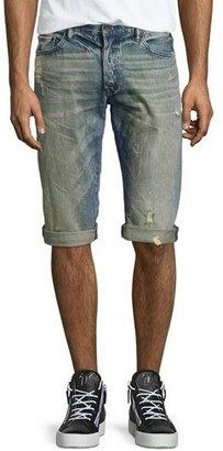PRPS Distressed Slim-Fit Denim Shorts, Blue $165 thestylecure.com
