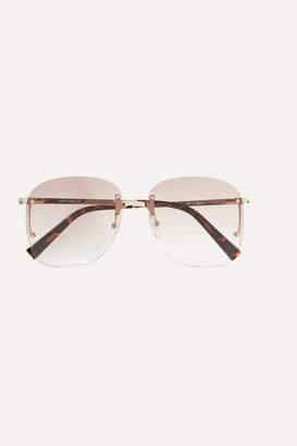 Le Specs Skyline Square-frame Gold-tone Sunglasses - Brown