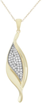 1/3 Carat T.W. Diamond 10k Gold Leaf Pendant Necklace