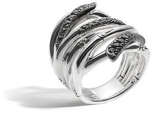 John Hardy Bamboo Lava Extra-Wide Ring with Black Sapphire