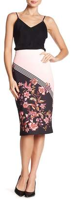 ECI Stripe & Floral Patterned Midi Skirt