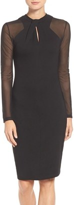 French Connection 'Tania Tuck' Mesh Sleeve Sheath Dress $148 thestylecure.com