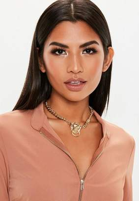 Missguided Gold Look Chunky Lion Choker Necklace