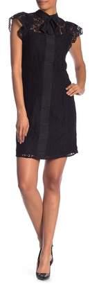 Nanette Lepore NANETTE Ruffle Cap Sleeve Lace Dress
