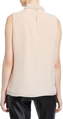 Karl Lagerfeld Paris Pearly Mock-Neck Sleeveless Blouse