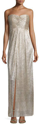 Laundry By Shelli Segal Strapless Sweetheart-Neck Metallic Gown, Silver $398 thestylecure.com