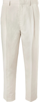 Off-White Mr P. - Tapered Pleated Linen and Cotton-Blend Twill Cropped Trousers - Men