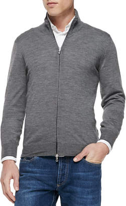Brunello Cucinelli Fine-Gauge Full-Zip Sweater Gray