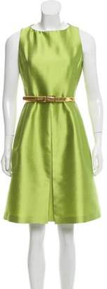 Michael Kors Silk and Wool A-Line Dress Lime Silk and Wool A-Line Dress