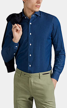 Barba Men's Cotton Chambray Shirt - Blue