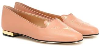 88c5300e440 Charlotte Olympia Kitty Flat leather loafers