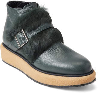 Paloma Barceló Green Real Fur-Trimmed Leather Booties