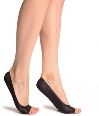 BEIGE Homax Non-Slip Heel Women's Peep Toe Socks With Silicon Grip Footies -Black