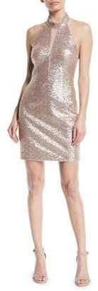 Aidan Mattox Cutout Sequin Halter Mini Dress