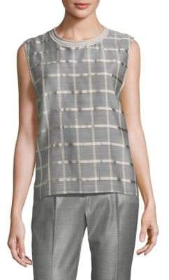 Peserico Sleeveless Organza Check Top