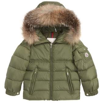 Moncler Byron Water Resistant Down Jacket with Genuine Fox Fur Trim