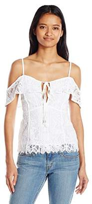 XOXO Women's Floral Lace Ruffle Cold Shoulder Top