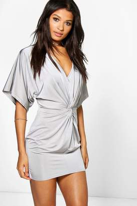 boohoo Ava Kimono Sleeved Knotted Bodycon Dress