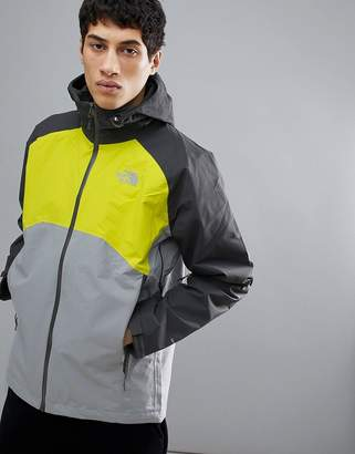 The North Face Stratos Jacket Hooded Waterproof Tricolour In Greys/Yellow