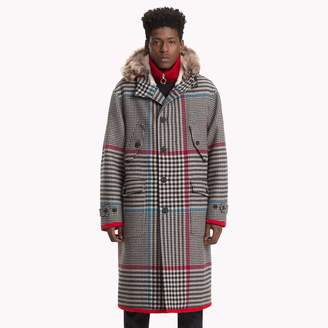 Tommy Hilfiger Check Hooded Long Coat