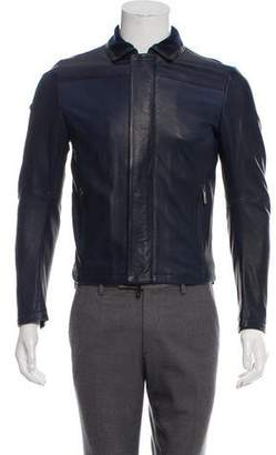 Emporio Armani Wool-Blend Accented Leather Jacket