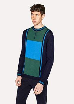 Paul Smith Men's Blue And Green Colour-Block Merino Wool Funnel-Neck Half-Zip Sweater
