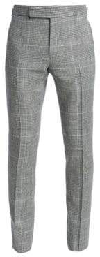 Ralph Lauren Purple Label Flat-Front Glen Plaid Pants
