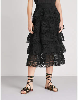 Zimmermann Tali tiered swirl cotton skirt