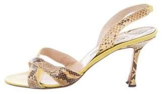 Manolo Blahnik Snakeskin Peep-Toe Sandals