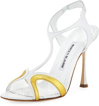 Manolo Blahnik Zant Mixed Metallic Sandals