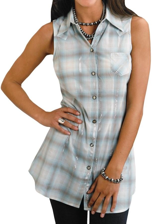 Stetson Plaid Cowgirl Tunic Shirt - Lurex®, Sleeveless (For Women)