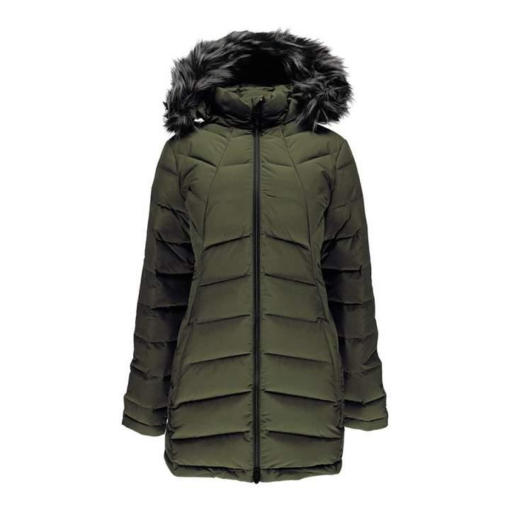 Women's Khaki Syrround Long Faux Fur Down Coat