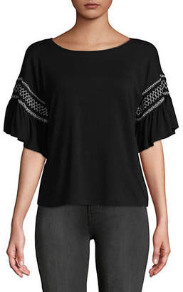 Vince Camuto Embroidered Smocked Ruffle Sleeve Top