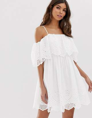 Asos Design DESIGN premium double layer off shoulder mini dress in broderie