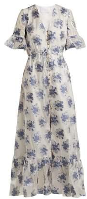 Athena Procopiou - In The Hills V Neck Floral Jacquard Dress - Womens - White Multi