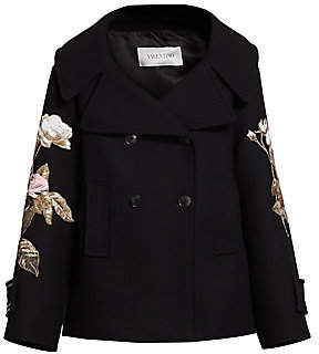 Valentino Women's Floral Embroidered Double Breasted Wool Peacoat