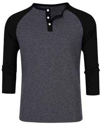 Lintimes Men's Casual Color Blocked 3/4 Sleeve Slim Fit Cotton Henley Shirts Black Sleeve S